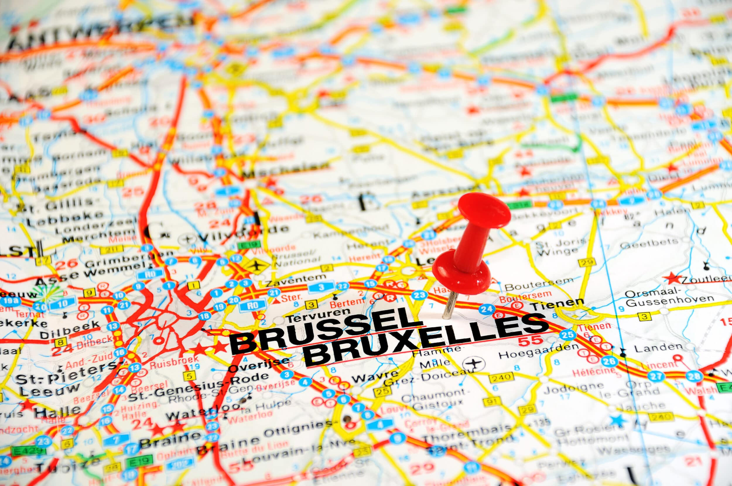 Foto van kaart van Brussel met pin erin - Chateau Residenties