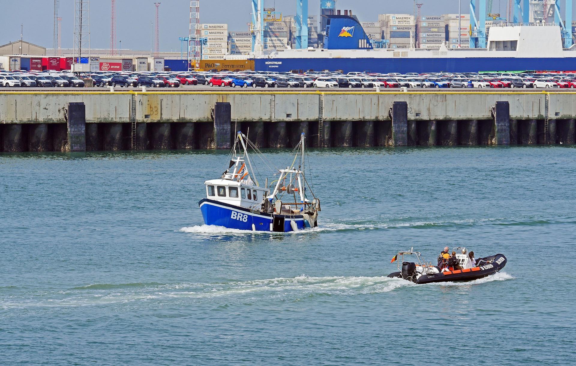 Afbeelding van een vrachtschip in de haven van Zeebrugge